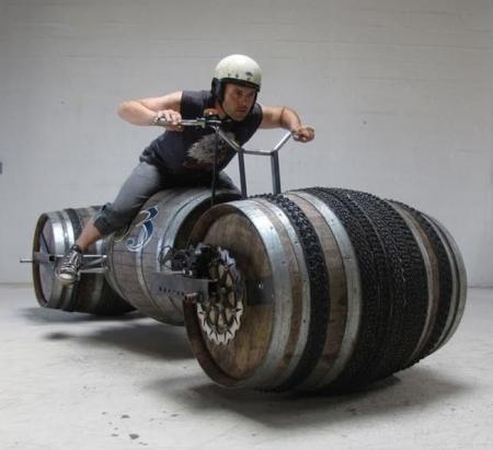 Bikes made from wine barrels (5 pics)